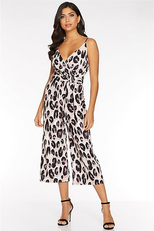 Stone and Black Animal Print Wrap Culotte Jumpsuit