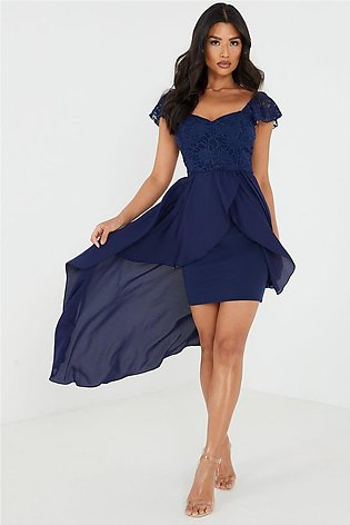 Navy Lace Sweetheart Dip Hem Dress