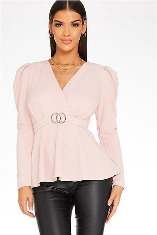 Pink Puff Sleeve Peplum Top