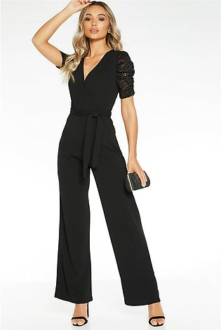 Sam Faiers Black Lace Sleeve Wrap Front Palazzo Jumpsuit