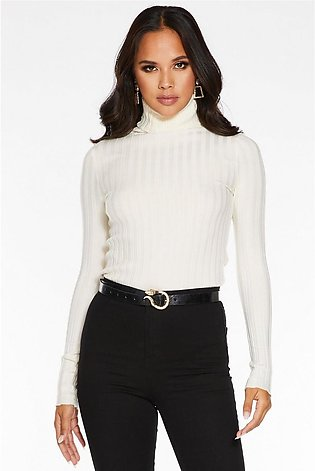 Cream Ribbed Polo Neck Light Knit Top