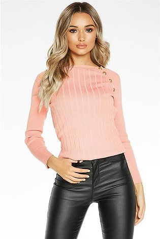 Pink Button Detail Top