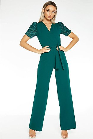 Bottle Green Lace Sleeve Wrap Front Palazzo Jumpsuit