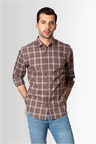 RT Casual Shirt F/S CHK C19609-BR - M