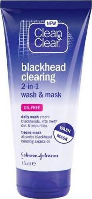Clean & Clear Blackhead Clearing 2 In 1 Wash & Mask 150 ML