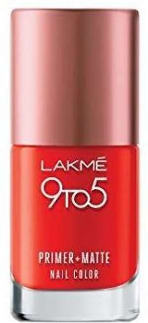Lakme 9 to 5 Primer and Matte Nail Color Crimson 9 ML