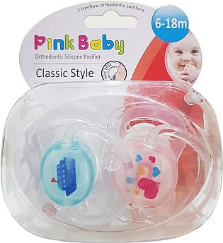 Pink Baby Orthodontic Silicon Pacifier Classic Style,  6-18m (A-215)