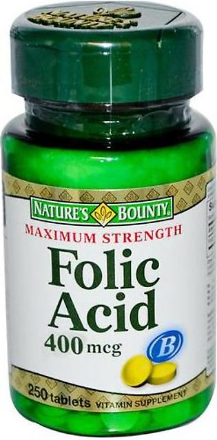 Natures Bounty Folic Acid 400mcg (250 Tablets)