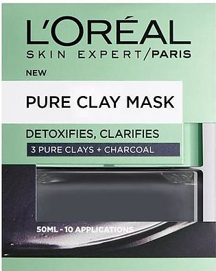 L'Oreal Paris Pure Clay Charcoal Mask Detoxifying & Clarifying Black 50 ML