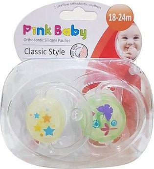 Pink Baby Orthodontic Silicon Pacifier Classic Style,  18-24m (A-216)