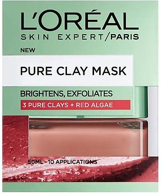 L'Oreal Paris Pure Clay Red Algae Mask Exfoliating & Smoothing Red 50 ML