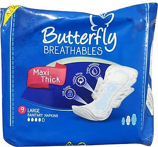 Butterfly Maxi Thick 9 Large Sanitary Napkins
