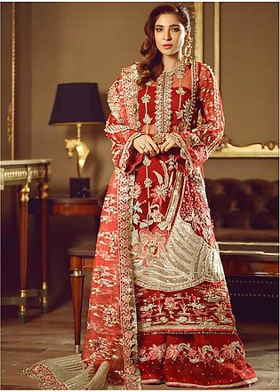 Meer by Maryam Hussain Embroidered Net Unstitched 3 Piece Suit MRH19W GULAAB ...