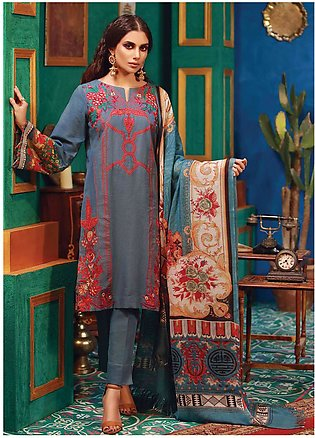 RajBari Embroidered Khaddar Unstitched 3 Piece Suit RB18K 7B - Winter Collection