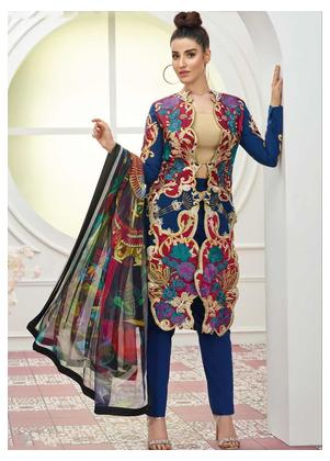 Asifa & Nabeel Embroidered Lawn Unstitched 3 Piece Suit AN19F 2B LIGHTENIN COLORS - Festive Collection