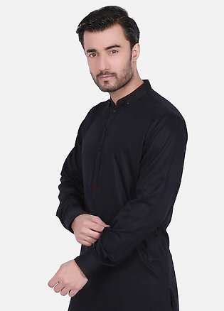 Edenrobe Cotton Formal Kurta Shalwar for Men - Black EMTSW19S-9701