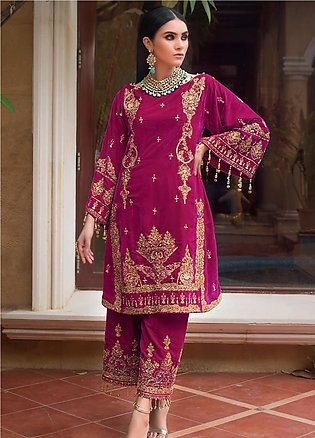 Gul Ahmed Embroidered Velvet Unstitched 2 Piece Suit GA19NC VLT 08 RUBY - Win...