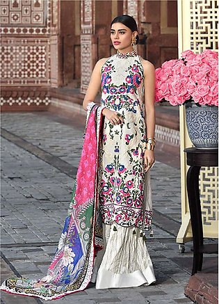 Asim Jofa Embroidered Lawn Unstitched 3 Piece Suit AJ20LL 12A - Luxury Collec...
