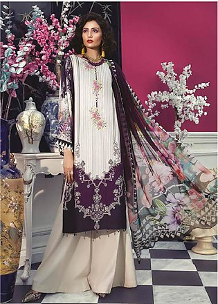 Maria B Embroidered Linen Unstitched 2 Piece Suit MBP19WE 706 B - Winter Coll...