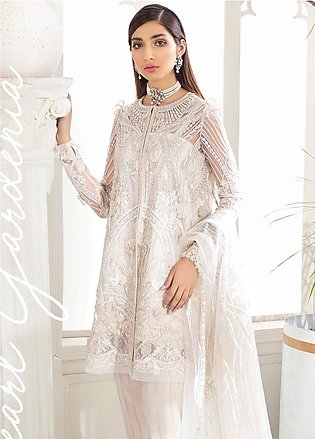 Freesia by Suffuse Embroidered Net Unstitched 3 Piece Suit FRS19W Pearl Garde...
