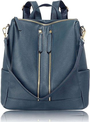Anna Grace London Smooth Backpack Bags for Women Navy with Grainy Texture