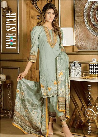 Five Star Printed Lawn Unstitched 3 Piece Suit FS20CL 1219B - Spring / Summer...