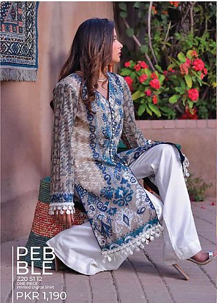 Tarzz Printed Lawn Unstitched Kurties TZ20SL Z20 12 - Summer Collection