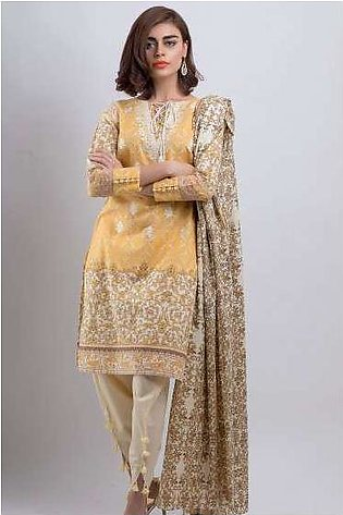 Zeen By Cambridge Embroidered Linen Unstitched 3 Piece Suit ED17W 377011