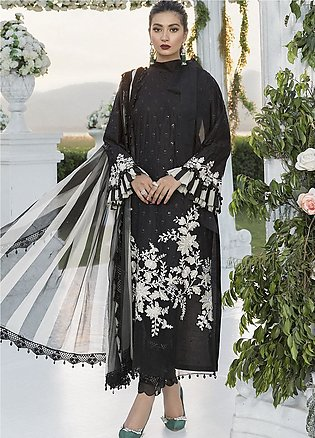 Sateen by Maria B Embroidered Cotton Satin Unstitched 3 Piece Suit MB20SF 03 - …