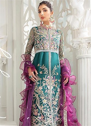 Freesia by Suffuse Embroidered Net Unstitched 3 Piece Suit FRS19W Mulberry Gr...