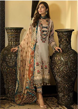 Asim Jofa Embroidered Lawn Unstitched 3 Piece Suit AJ20LL 2B - Luxury Collection