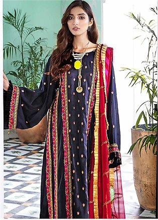 Gul Ahmed Embroidered Cotton Silk Unstitched 3 Piece Suit GA20E FE 321 - Luxu...