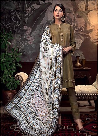 Gul Ahmed Embroidered Raw Silk Unstitched 3 Piece Suit GA19NC VSH 04 GOLD - W...
