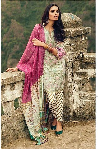 Zara Shahjahan Embroidered Lawn Unstitched 3 Piece Suit ZS17l Mughal Garden