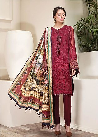Jazmin Embroidered Chiffon Unstitched 3 Piece Suit JZ20AL 4 - Luxury Collection