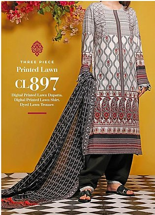 Baraan by Gul Ahmed Printed Lawn Unstitched 3 Piece Suit BGA20MS CL-897 - Summe…