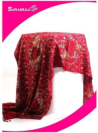 Maroon Embroidered Pashmina Shawls for ladies - SW 227