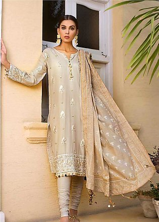 Gul Ahmed Embroidered Cotton Silk Unstitched 3 Piece Suit GAF19CS EA-63 - Fes...