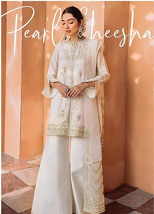 Freesia by Suffuse Embroidered Cotton Net Stitched 3 Piece Suit FRS19O PEARL ...