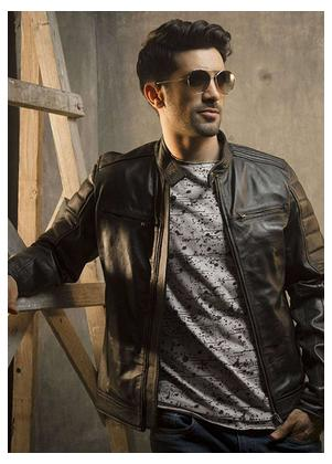 Red Tree Leather Casual Jackets for Men - Black RT8061