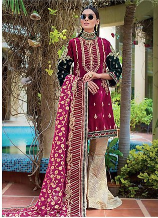 Gul Ahmed Embroidered Velvet Unstitched 3 Piece Suit GA19NC VLW 07 OPAL - Win...