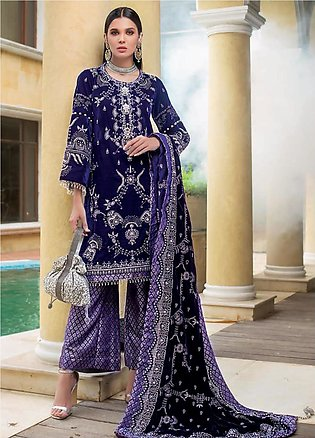 Gul Ahmed Embroidered Velvet Unstitched 3 Piece Suit GA19NC VLW 09 KANGAN - W...