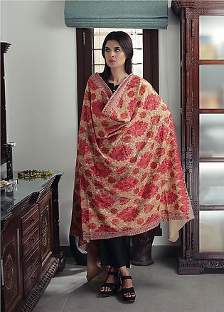 Sanaulla Exclusive Range Embroidered Pashmina Shawl 19-MIR-166 Fawn - Kashmir...