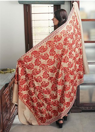 Sanaulla Exclusive Range Embroidered Pashmina Shawl 19-MIR-164 Fawn - Kashmir...