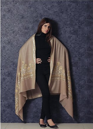 Sanaulla Exclusive Range Embroidered Pashmina Shawl 19-AKP-121 Dark Beige - K...