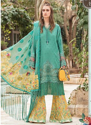 Maria B Embroidered Lawn Suits Unstitched 3 Piece MB21L 7-B - Summer Collection