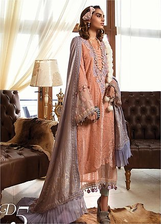 Maria B Embroidered Linen Unstitched 3 Piece Suit MB19W 5 - Winter Collection