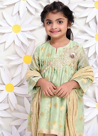 Ochre Jacquard Embroidered Formal Girls 3 Piece Suit - OFW 217 Pista Green