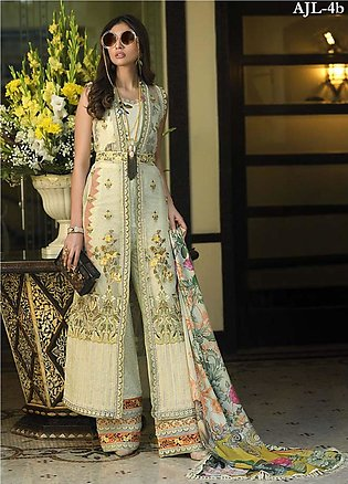 Asim Jofa Embroidered Lawn Unstitched 3 Piece Suit AJ20LL 4B - Luxury Collection