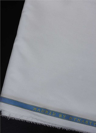 Dynasty Plain Egyptian Cotton Unstitched Fabric Madrid Off White - Summer Col...